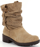 Coolway Brisi Whipstitch & Tassel Scrunchy Front Floral Imprinted Pull-On Booties