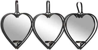 Uma Enterprises Uma Heart-Shaped Metal Wall Sconce Mirror Candle Holders With Leather Straps