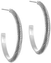 Laundry by Shelli Segal Silvertone Chevron Hoop Earrings