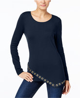 INC International Concepts Asymmetrical Grommet-Trim Tunic, Only at Macy's