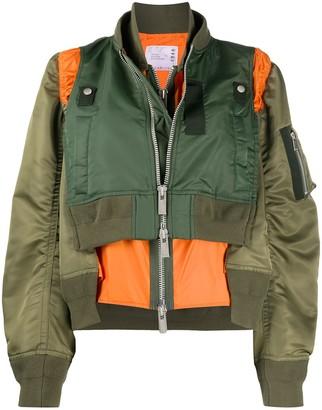 Sacai Layered Style Colour Block Bomber Jacket