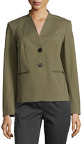 Lafayette 148 New York Lilith Two-Button Blazer Jacket, Kale