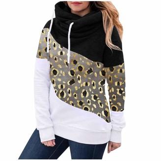 jieGorge Blouse and Top Women's Casual Polka Leopard Print Contrast Long Sleeve Hoodie Sweatshirt Tops