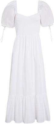 Faithfull The Brand Lithana Cotton Poplin Peasant Midi Dress