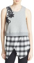 Derek Lam 10 Crosby Women's Floral Embroidered 2-In-1 Cotton Top