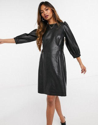 Vero Moda faux leather mini dress with volume sleeves in black