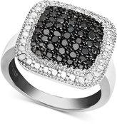 Victoria Townsend Sterling Silver Ring, Black Diamond (1/4 ct. t.w.) and White Diamond Accent Square Ring