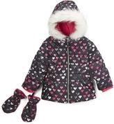 London Fog Fuchsia Heart Puffer Coat Mittens - Infant Toddler & Girls