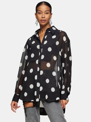 Topshop Spot Oversized Blouse - Black
