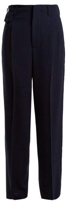 Golden Goose Sally High Rise Straight Leg Trousers - Womens - Navy