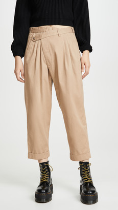R 13 Cropped Triple-Pleat Crossover Pants