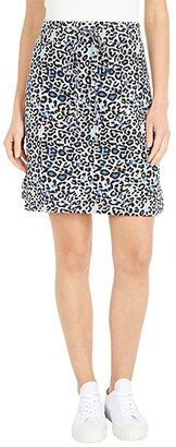 Mod-o-doc Leopard Print French Terry Drawstring Skirt (Heather Grey) Women's Skirt