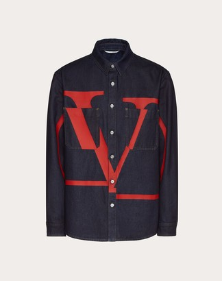 Valentino Denim Shirt With Vlogo Signature Print Man Navy/ Red Cotton 100% 48