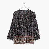 Madewell Silk Bohème Popover Shirt in Burnished Floral