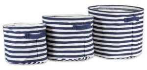 Design Imports Polyethylene Coated Herringbone Woven Cotton Laundry Bin Stripe French Round Set of 3