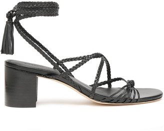 Sigerson Morrison Tasseled Braided Leather Sandals
