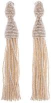 Oscar de la Renta Ivory Classic Long Tassel Earrings