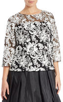 Alex Evenings Plus Embellished Mesh Blouse