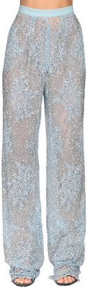 Ermanno Scervino Embellished Sheer Lace Wide Leg Pants