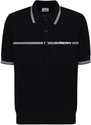 Burberry Logo Embroidered Wool Pique Polo Shirt