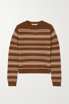Max Mara Teano Striped Ribbed Wool And Cashmere-blend Sweater - Brown