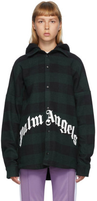Palm Angels Black and Green Checked Hooded Overshirt