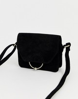 Asos Design DESIGN SUEDE ring ball cross body bag