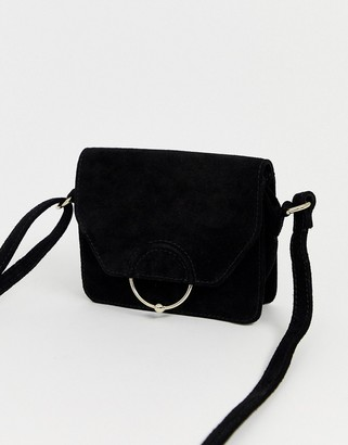 Asos Design DESIGN suede ring ball cross body bag-Black