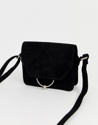 Asos Design DESIGN SUEDE ring ball cross body bag