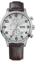 HUGO BOSS Aeroliner Stainless Steel Brown Leather Strap Chronograph, 1512447