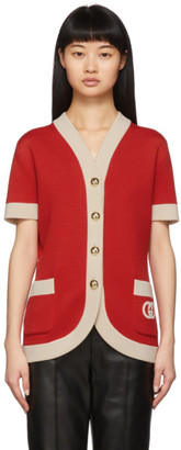 Gucci Red Double Pocket Cardigan