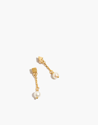 Madewell Delicate Collection Demi-Fine Shapes Freshwater Pearl Drop Earrings