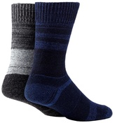 Mantaray Pack Of Of Two Blue Space Dye Boot Socks