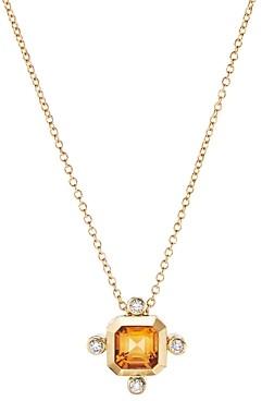 David Yurman 18K Yellow Gold Novella Pendant Necklace with Madeira Citrine & Diamonds, 18