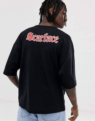 ASOS DESIGN Scarface oversized t-shirt with photographic and back print