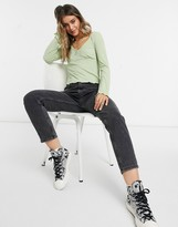 Thumbnail for your product : Pimkie v neck button shirred top in green