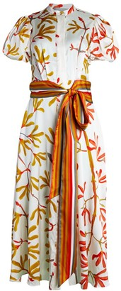 Silvia Tcherassi Puff-Sleeve Stretch-Silk Tie-Waist Dress