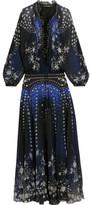 Roberto Cavalli Embellished Printed Silk-chiffon Maxi Dress - Indigo