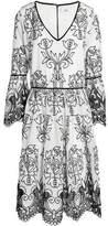 Badgley Mischka Open Knit-Trimmed Embroidered Ramie-Blend Gauze Dress