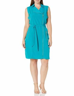 Calvin Klein Women's Plus Size Moto Dress W/Zips
