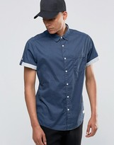Esprit Short Sleeved Shirt with Contrast Turn up Sleeves