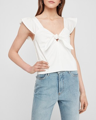 Express Cropped Tie Front Ruffle Tank