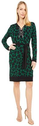 MICHAEL Michael Kors Animal Lace-Up Border Dress (Moss) Women's Dress