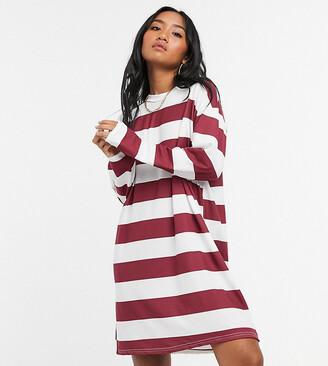 ASOS DESIGN Petite long sleeve mini t-shirt dress in burgundy and white