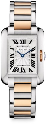 Cartier Tank Anglaise Small 18K Rose Gold & Stainless Steel Bracelet Watch