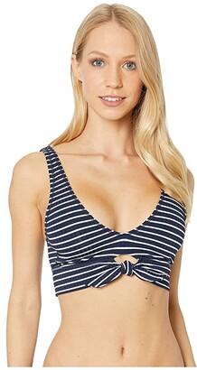 Robin Piccone Sailor Scoop Neck Top w/ Front Tie (Black/White) Women's Swimwear