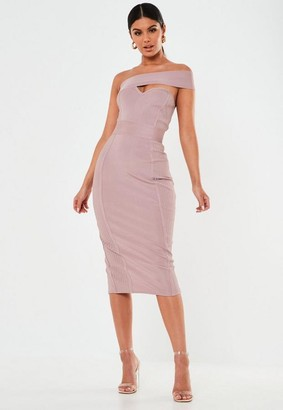 Missguided Tall Premium Mauve Bandage One Shoulder Ribbed Midi Dress