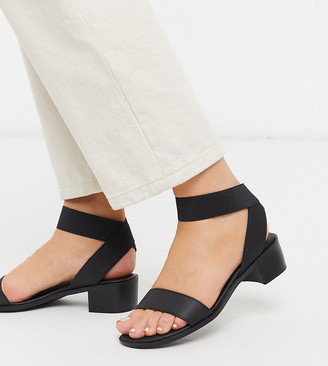 New Look Wide Fit low block heeled sandals with elastic straps in black