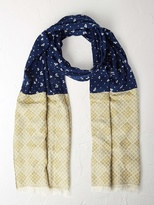 White Stuff Ditsy floral jacquard scarf