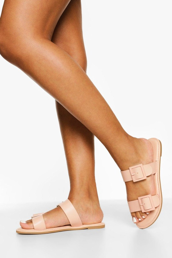 Thumbnail for your product : boohoo Buckle Detail Double Strap Slider